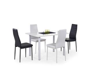 Jedálenský stôl Adonis - MDF biely vysoký lesk / biely kov