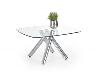 Sklenený konferenčný stolík Almera - priehľadná / chróm