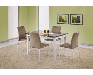Rozkladací jedálenský stôl Alston - béžové sklo / biely kov