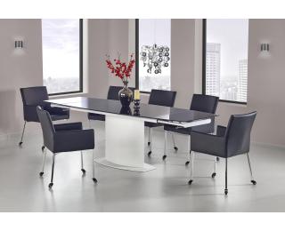 Sklenený rozkladací jedálenský stôl Anderson - čierna / biela