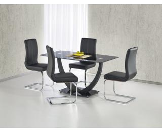 Jedálenský stôl Anton - čierne sklo / čierny kov