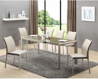 Sklenený rozkladací jedálenský stôl Arabis - svetlohnedá / béžová