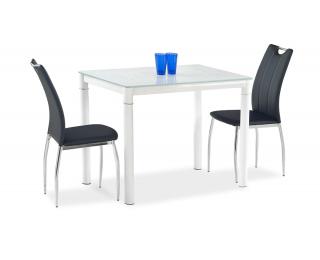 Jedálenský stôl Argus - biele sklo / biely kov