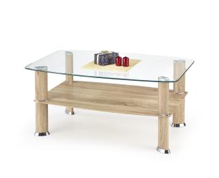 Sklenený konferenčný stolík Astra - dub sonoma / priehľadná