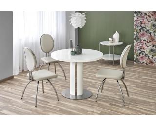 Okrúhly jedálenský stôl Atticus - biely lesk / nerezová