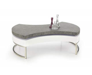 Konferenčný stolík Aurea 2 - biely lesk / betón / chróm