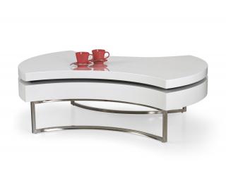 Konferenčný stolík Aurea - biely lesk / chróm