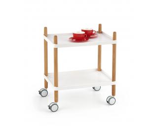 Servírovací stolík na kolieskach Bar-10 - biela / prírodná