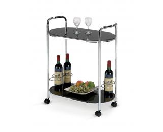 Servírovací stolík na kolieskach Bar-3 - čierna / chróm