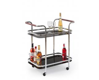 Servírovací stolík na kolieskach Bar-7 - čierna / chróm