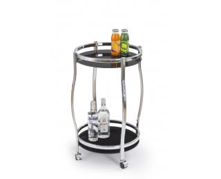 Servírovací stolík na kolieskach BAR-8 - čierna / chróm