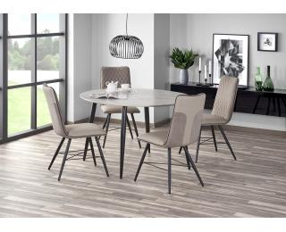 Okrúhly jedálenský stôl Belato - mramor / čierna