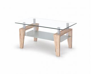 Sklenený konferenčný stolík Betty - dub san remo / priehľadná