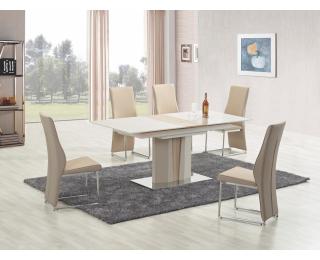 Sklenený rozkladací jedálenský stôl Cameron - champagne lesk / dub sonoma