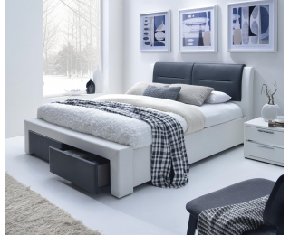 Čalúnená manželská posteľ s roštom Cassandra S 140 - biela / čierna
