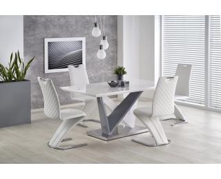 Jedálenský stôl Cortez - biely lesk / sivý lesk