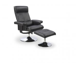 Relaxačné kreslo s podnožkou Dayton - čierna / oceľ