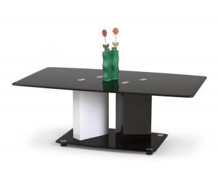 Sklenený jedálenský stôl Debra - čierny lesk / biely lesk