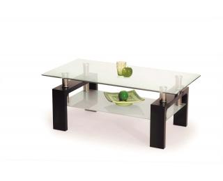 Sklenený konferenčný stolík Diana H - wenge / priehľadná / mliečna