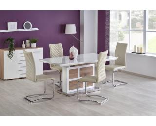 Rozkladací jedálenský stôl Domus - biely lesk / dub san remo