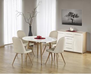 Rozkladací jedálenský stôl Edward - biely lesk / dub medový