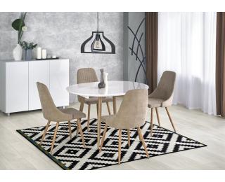 Rozkladací jedálenský stôl Edward - biely lesk / dub san remo