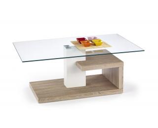 Sklenený konferenčný stolík Evelin - dub sonoma / priehľadná / biely lesk