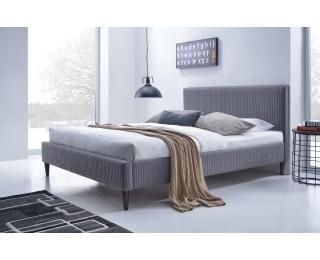 Čalúnená manželská posteľ s roštom Flexy 160 - sivá / orech