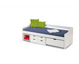 Jednolôžková posteľ s roštom a úložným priestorom Floro 2 90 - biely lesk