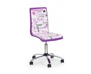 Detská stolička na kolieskach Fun 7 - fialová / vzor