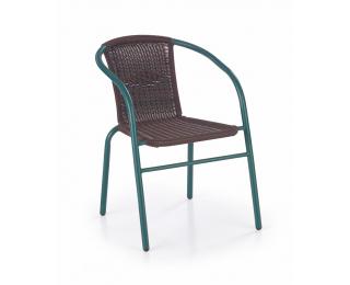 Záhradná stolička Grand 2 - tmavohnedá / tmavozelená