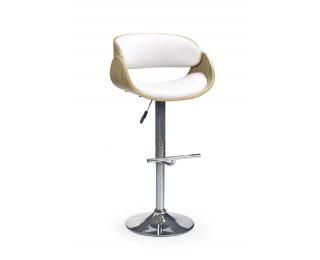 Barová stolička H-43 - dub svetlý / biela / chróm
