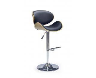 Barová stolička H-44 - dub svetlý / čierna / chróm