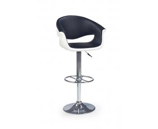 Barová stolička H-46 - čierna / biela / chróm