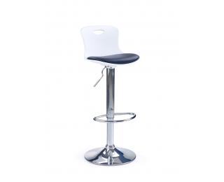 Barová stolička H-49 - biela / čierna / chróm