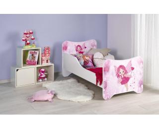 Detská posteľ s roštom a matracom Happy Fairy - biela / kombinácia farieb