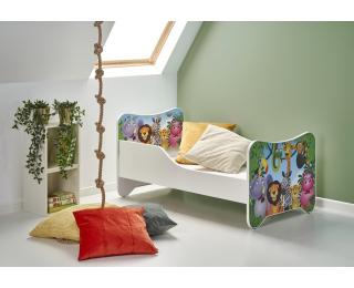Detská posteľ s roštom a matracom Happy Jungle - biela / kombinácia farieb
