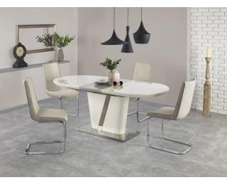 Rozkladací jedálenský stôl Iberis - krémový lesk / sivý lesk