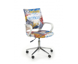 Detská stolička na kolieskach s podrúčkami Ibis - biela / vzor freestyle