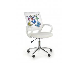 Detská stolička na kolieskach s podrúčkami Ibis - biela / vzor motýle
