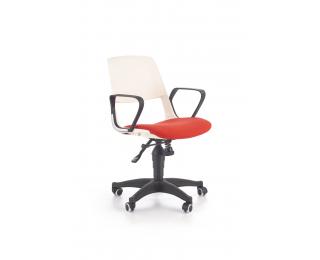 Detská stolička na kolieskach s podrúčkami Jumbo - biela / červená