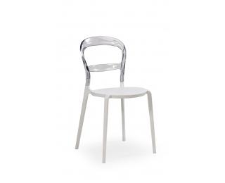 Jedálenská stolička K100 - biela / priehľadná