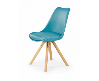 Jedálenská stolička K201 - tyrkysová / buk