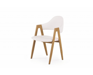 Jedálenská stolička K247 - biela / dub medový
