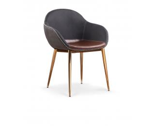 Jedálenská stolička K304 - tmavosivá / hnedá