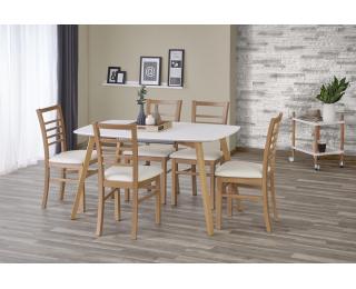Rozkladací jedálenský stôl Kajetan 135/185 - biely lesk / dub medový