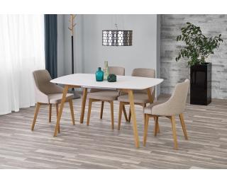 Rozkladací jedálenský stôl Kajetan 150/200 - biely lesk / dub medový