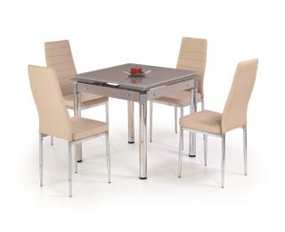 Sklenený rozkladací jedálenský stôl Kent - béžová / chróm