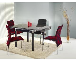 Sklenený rozkladací jedálenský stôl Kent - čierna / chróm