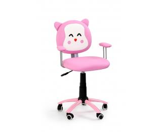 Detská stolička na kolieskach s podrúčkami Kitty - ružová / biela